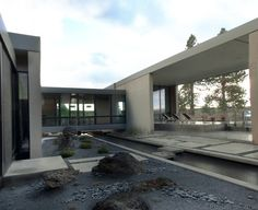 enclosed natural courtyard lava stones house exterior