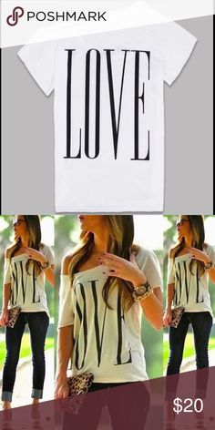 Off the Shoulder LOVE Graphic Tee NWT in original packaging. White cotton polyester blend, relaxed fit t-shirt. Off the shoulder concept, adorable to wear over a camisole. Runs one size smaller than tag size. Size M: Bust-94 cm, Length-58 cm // Size L: Bust-98 cm, Length-60 cm // Size XL: Bust-102 cm, Length: 62 cm. Tops Tees - Short Sleeve