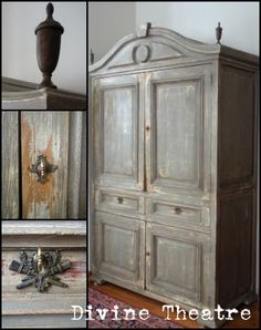 Gustavian Armoire Tutorial using Chalk Paint® decorative paint by Annie Sloan (source: Divine Theatre). Colours used were Old White and French Linen.