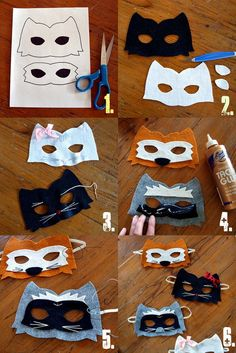 Sewing Animals Patterns Easy Kitty Raccoon Fox Felt Animal Mask Pattern - Sabrina Alery - The Odd Girl Hop - Over 50 easy kids crafts to do, great boredom busters! Easy Crafts For Kids, Crafts To Do, Felt Crafts, Diy For Kids, Animal Masks For Kids, Mask For Kids, Kino Party, Diy Pour Enfants, Felt Mask