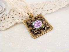 Flower rose polymer clay vintage pendant hand made by jewelryfimo, $15.99
