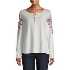 878fbaf7017d1 St. John s Bay Long Sleeve Round Neck T-Shirt-Womens St John s