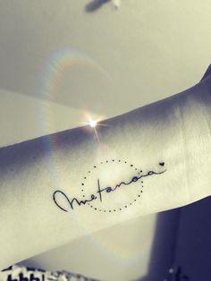 "Metanoia tattoo Metanoia: ""transformación profunda de mente y corazón de manera positiva"". Tattoo, wrist tattoo, letter tattoo"