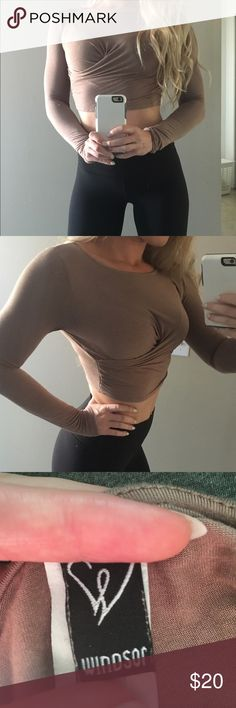 Nude Crop Top Neutral colored long sleeve crop top with an elegant twist in the front. Size small, only worn once but washed multiple times (hence faded tag). WINDSOR Tops Crop Tops