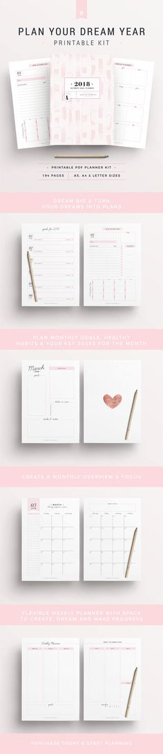 2018 Planner, 194 Printable Pages | Created by #IndigoPrintables The 2018 Goal Planner Kit really is the Crème de la Crème of all Planners, providing you with the tools you need to make 2018 a super successful one.