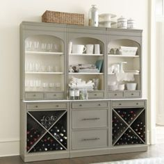 I like this color for my big hutch in the kitchen. Set of 3 Paulette Servers | Ballard Designs