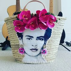 Frida Kahlo straw bag French market basket Frida Kahlo bag