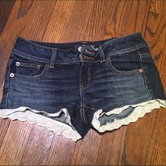 AE Denim jeans with lace New denim shorts with lace on bottom American Eagle Outfitters Shorts Jean Shorts