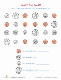 Kindergarten Money Counting & Numbers Worksheets: Coin Recognition