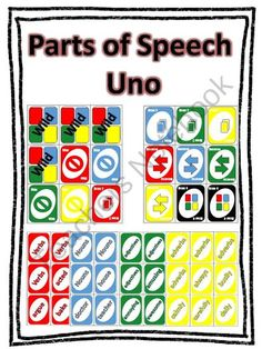 Uno Style Parts of Speech Review Game from An Apple For The Teacher on TeachersNotebook.com (25 pages)  - This Uno game is played like the regular Uno game but with a twist! Your students will also be learning parts of speech as they play!