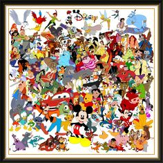 Disney art, all the characters in one piece!