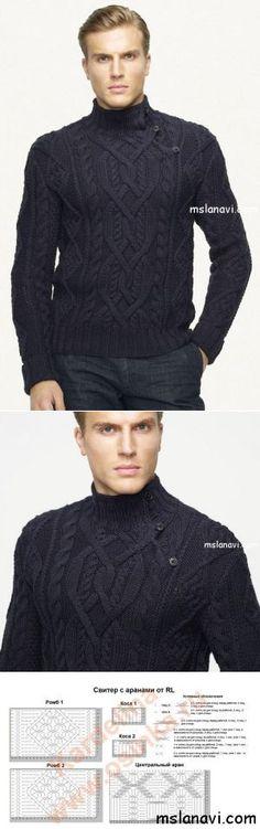 Вязаный пуловер для мужчин от Ralph Lauren | Вяжем с Лана Ви *This would be great in a woman's size