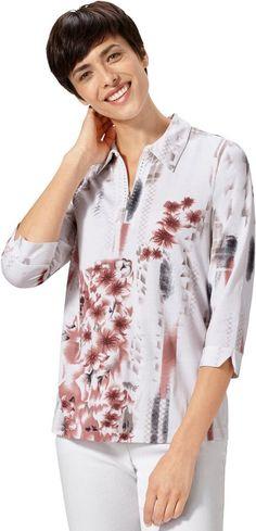 Classic Basics Shirt mit Polokragen ab 24,99€. Shirt im floralen Dessin, Baumwolle, 3/4-lange Ärmel, Polokragen bei OTTO