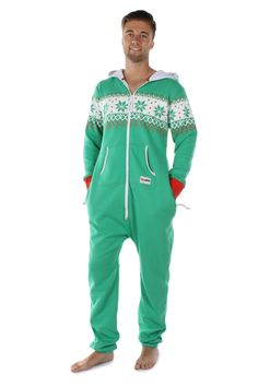 83c11e5e96 Men s Green Christmas Jumpsuit Ugly Holiday Sweater
