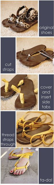 maxi5 by bitsy bear, via Flickr - creative way to make over sandles, could do mank styles with this technique