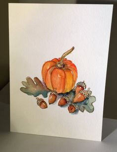 Autumn Watercolor Card Lovely fall acorns and mini pumpkins. This card is 5x7. I have used watercolor and ink on this fall card. This card is framable original. Comes with a matching envelope.
