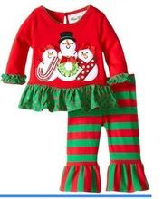 Free Shipping 5 Sets/lot 216 New Girls Christmas Clothes outfit Red Snowman T shirt and Striped Leggings 2 piece Clothing Set(China (Mainland))