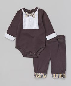 Look at this Anne Geddes Charcoal Little Gentlemen Bow Tie Bodysuit Set on #zulily today!