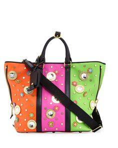 Trinket+Colorblock+Tote+Bag,+Multi+by+Moschino+at+Neiman+Marcus. Tote Purse, Tote Handbags, Tote Bags, Lipstick Holder, Shoulder Strap, Shoulder Bags, Moschino, Color Blocking, Diaper Bag