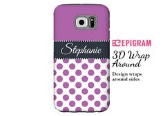 Personalized Samsung Galaxy S6 case orchid polka by EpigramCases