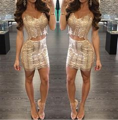 Sequin Two Piece Sets Women Crop Top and Skirt Set Sexy Spaghetti Strap High  Waisted Bodycon Skirt Suits Party Club Wear Outfits 7a95574be69f