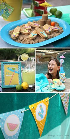 Pool Party Ideas! Flip flop cookies. Banner. Fun Food  Party Printables by Amy Locurto LivingLocurto.com