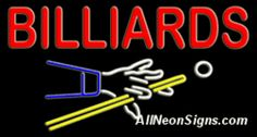 "Billiards Neon Sign-10668-6688  37"" Wide x 20"" Tall x 3"" Deep  110 volt U.L. 2161 transformers  Cool, Quiet, Energy Efficient  Hardware & chain are included  6' Power cord  For indoor use only  1 Year Warranty/electrical components  1 Year Warranty/standard transformers."