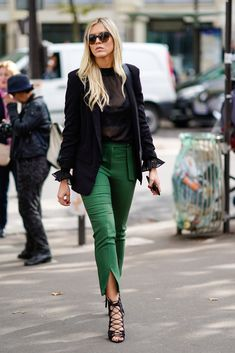 STYLECASTER   Leg Slit Pants   Pants Outfit   Spring Outfit Ideas   Influencer wearing leg slit pants