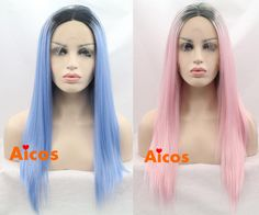 Synthetic Lace Front Wigs Straight Long Ombre Grey Heat Resistant Women's Wig…