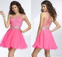 *****REALLY LIKE********2015 New Arrival Crystal Homecoming Dresses One Shoulder A Line Formal Prom Dresses Cocktail Dresses Short Party Gowns Sheer Custom Dress Best Dresses Black Homecoming Dresses From Bestdeals, $84.68| Dhgate.Com