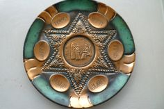 Judaica Vintage 11 inch copper and teal Passover by shainkeit, $30.00