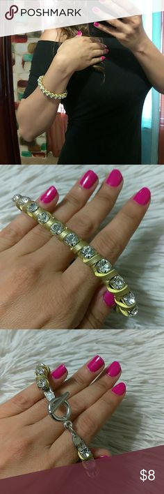 "*New Yellow Braided SPARKLE Rhinestones Bracelet New with tags- silver tone hardware- sparkling diamond accent stones- measures: 6"" (all around) boutique Jewelry Bracelets"