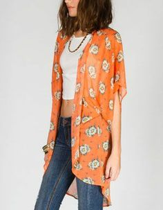 orange daisy kimono ~ made in the USA
