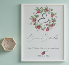 'Strawberries' is an elegant hand drawn Birth Announcement design from our 'Day One' collection, suitable for all nurseries or baby rooms  'Day One' is all about the memories of one of the best days of our lives - the day your baby gave their first breath and, surely, a day you will never forget.  This artwork will be a beautiful and elegant finishing touch to your baby's nursery and it also makes the perfect gift for new parents. Baby Room Wall Decor, Nursery Room, Newborn Birth Announcements, Gifts For New Parents, Nursery Signs, Baby Rooms, Baby Birth, Nurseries, Girl Room