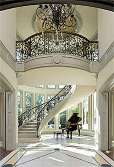 Ideas house entrance architecture grand staircase for 2020 Style At Home, Villa Plan, Grand Staircase, Spiral Staircase, Floating Staircase, White Staircase, Winding Staircase, Piano Stairs, Staircase Diy