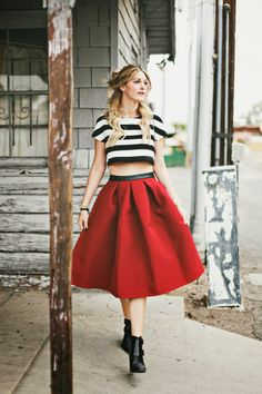 Midi, Crop Top, Stripe Crop, Crop, Stripes, Midi, Full Skirt, Maroon Skirt, Bordeaux Skirt, Wine Colored, Booties, Boots, Mixed Media Boots,...