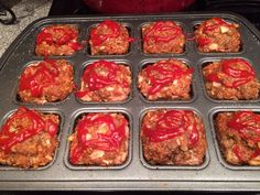 Meatloaf made in a Pampered Chef Brownie Pan; great for portion control and cuts down on cooking time!!