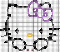 Hello Kitty violet bow hama perler beads pattern