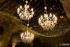 Chandeliers and sky of fairy lights at Castello di Vincigliata