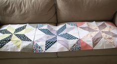 Stitches in Play: star block tutorial + triangle piecing trick- uses 4, 10 inch blocks per star