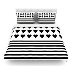 East Urban Home Heart Stripes by Project M Monochrome Lines Featherweight Duvet Cover Size: Queen