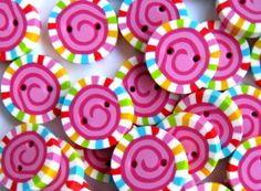 5 Stck. Lollypop-Knöpfe Circus Mini von Princess Bubblegum auf DaWanda.com