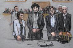 A courtroom sketch shows Boston Marathon bomber Dzhokhar Tsarnaev with his defense attorneys as a...