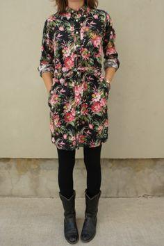 FWK - Black Floral Flannel BD Shirt Dress.