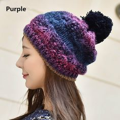 Gradient beanie hats Hairball winter hats for women