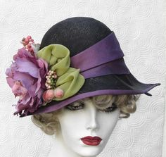 Romantic Large Flowered Tea Party Couture Millinery Hat by BuyGail...this is like back when ppl used to dress classy;)