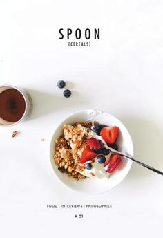 Spoon Cereals Magazine is a bi-annual publication full of morning time inspiration to include recipes, creatives, interviews, and philosophies written by the team at the quality granola company Spoon Cereals and published by Newspaper Club. Food Photography Styling, Food Styling, Cooking Photography, Menu Design, Food Design, Food Magazine Layout, Cereal Magazine, Cereal Recipes, Food Menu