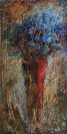 Букет синих роз в красной вазе - купить картину или заказать репродукцию в СПб
