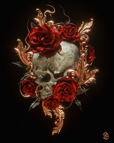 Memento Mori: Macabre Digital Art by Billelis Memento Mori, Macabre Decor, Macabre Art, Skull Wallpaper, Pattern Wallpaper, Tattoo Graphic, Gold Aesthetic, Skulls And Roses, Traditional Paintings