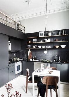 Dining Room Rules: Industrial Dining Room Lighting As The Key Fixture Contemporary Interior Design, Interior Design Kitchen, Modern Design, Modern Contemporary, Interior Modern, Luxury Interior, Grey Kitchens, Home Kitchens, Kitchen Grey